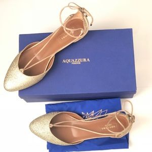 New in box! Aquazzura Alexa gold glitter flats